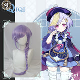 Uwowo Game Genshin Impact Qiqi Pharmacist Cosplay Wig Icy Resurrection 85cm Light Purple Braided Hair
