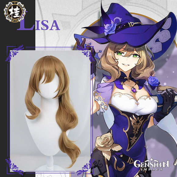 Uwowo Game Genshin Impact Lisa Witch of Purple Rose Cosplay Wig The Librarian 70cm Brown Long Wavy Hair