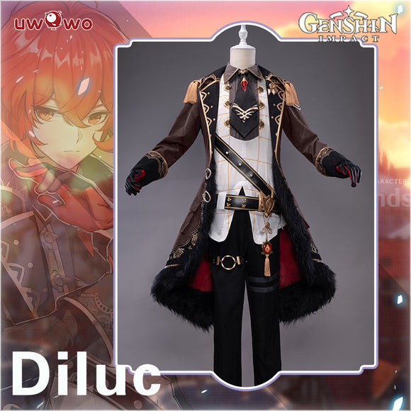 【Pre-sale】Uwowo Game Genshin Impact Cosplay Diluc The Dark Side of Dawn Costume Darknight Hero Handsome Nobiliary Uniform