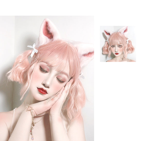 Hengji Wig Powder Rabbit Pinkish-orange 29cm&70cm Wavy Lolita Daily Cosplay Wig Synthetic Heat Resistant Fiber