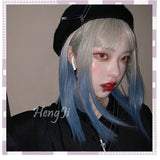 Hengji Wig Blue tail Dirty blue Gray Gradient 42cm Straight Lolita Daily Cosplay Wig Synthetic Heat Resistant Fiber