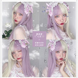 Hengji Wig July Purple White Gradient 60cm Hime Cut Long Straight Lolita Daily Cosplay Wig Synthetic Heat Resistant Fiber