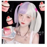 Hengji Wig July Purple White Gradient 33cm Straight Lolita Daily Cosplay Wig Synthetic Heat Resistant Fiber