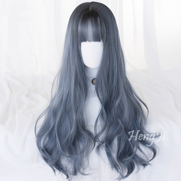 Hengji Lolita Wig Witch Grey and Blue  71cm long curly hair Synthetic Heat Resistant Fiber