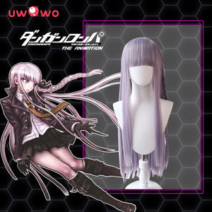 Uwowo Danganronpa Kyoko Kirigiri Cosplay Wig The Ultimate ??? 90cm Lilac Long straight Hair