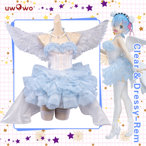 【Pre-sale】Uwowo Re:Zero Starting Life in Another World Clear & Dressy-Rem Cosplay Costume Cute Angel Cosplay Dress