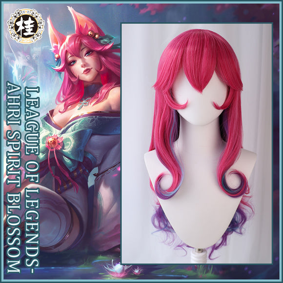 Uwowo League of Legends LOL Spirit Blossom Ahri The Nine-Tailed Fox Cosplay Wig