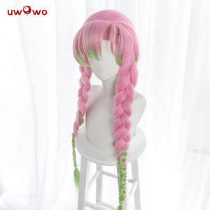 Uwowo Demon Slayer: Kimetsu no Yaiba Kanroji Mitsuri Cosplay Wig 85cm Long Pink Green Gradient Wig
