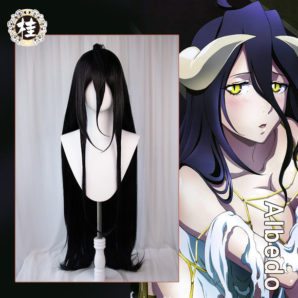 【Pre-sale】UWOWO Anime Overlord Albedo Cosplay Wig 120cm Deep Purple Long Hair