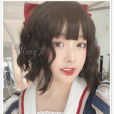 Hengji Lolita Wig Cute Brown 29cm Short curly hair Synthetic Heat Resistant Fiber
