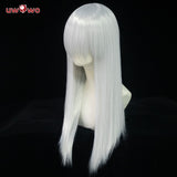 Uwowo Cosplay Universal Wig 60CM Long Silvery Gray Straight Heat Resistant Synthetic Hair