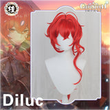 [Pre-sale] Uwowo Game Genshin Impact Diluc The Dark Side of Dawn Cosplay Wig 80cm Red Long Hair