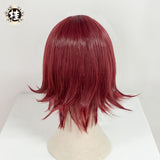 UWOWO Game Arknights Exusiai Cosplay Wig 35cm Wine Red Short Hair Sniper Cosplay Wig