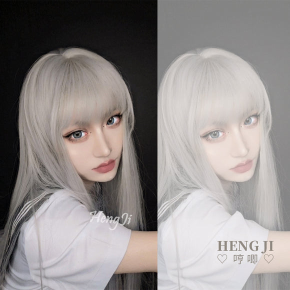 Hengji Lolita Wig Froth Grayish-white 60cm long Straight/Curly hair Synthetic Heat Resistant Fiber