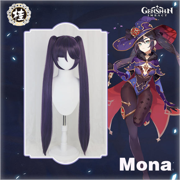 Uwowo Game Genshin Impact Mona Megistus Cosplay Wig Astral Reflection 90cm Purple Twin Tail Wig