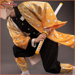 【New version】Uwowo Demon Slayer: Kimetsu no Yaiba Agatsuma Zenitsu Cosplay Costume Demon Slaying Corps Uniform
