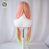 Uwowo x Shika:Exclusive Authorization Demon Slayer Doujin Kanroji Mitsuri Bunny Version Double tail Cosplay Wig
