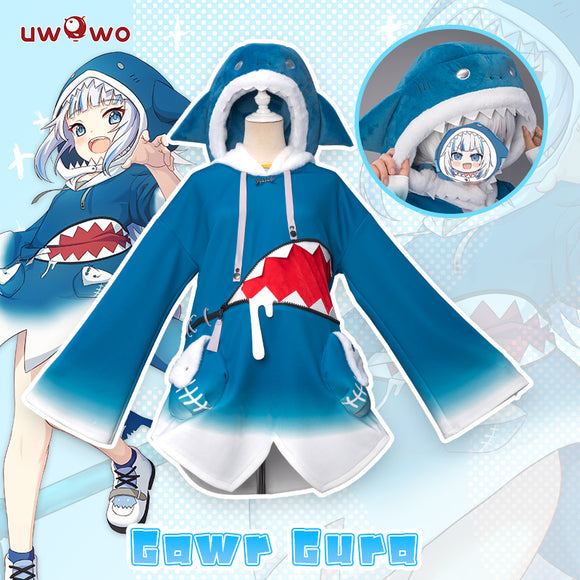 Uwowo Cosplay Gawr Gura Cosplay Costume Shark GAWRGURA Cute Unisex Dress