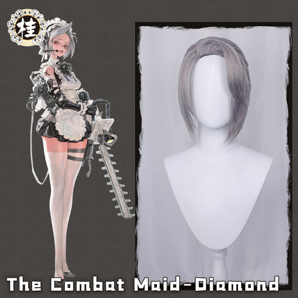 【Pre-sale】 The Combat Maid Series ♦ Diamond Cosplay Wig 30cm Sliver Ponytail