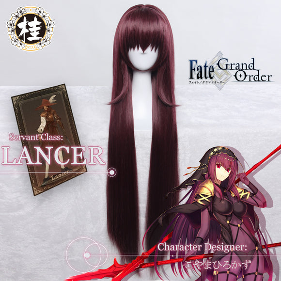 UWOWO Game Fate Grand Order/FGO Scathach Cosplay Wig 90cm Purple Red Wig