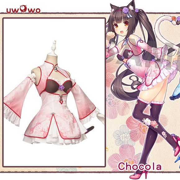 【Pre-sale】UWOWO Game NEKOPARA Chocola China Dress Edition DX Ver. Cosplay Costume Chocola and Vanilla Cute Girl Cheongsam Dress