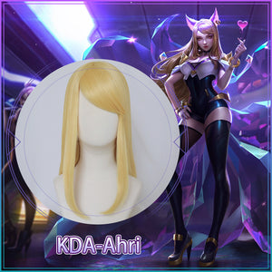 Game League Of Legends K/DA Ahri Cosplay Wig LOL  KDA Golden Long Heat Resistant  Hair