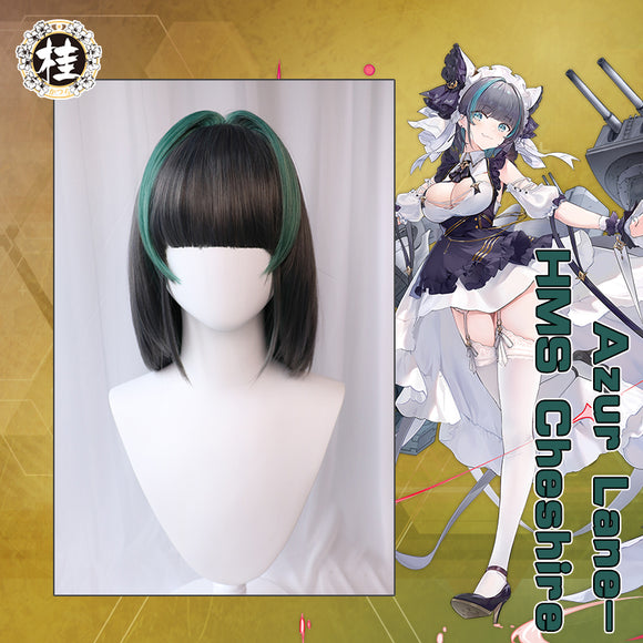 Uwowo Game Azur Lane Royal Navy HMS Cheshire Cosplay Wig 35CM Gray and Green Wig