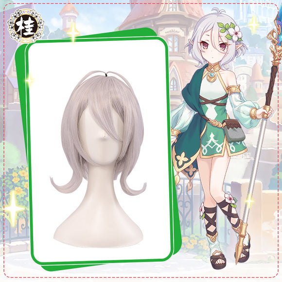 UWOWO Princess Connect! Re:Dive Kokkoro Regular Cosplay Wig 25cm Silver Gray Hair Synthetic Heat Resistant Fiber