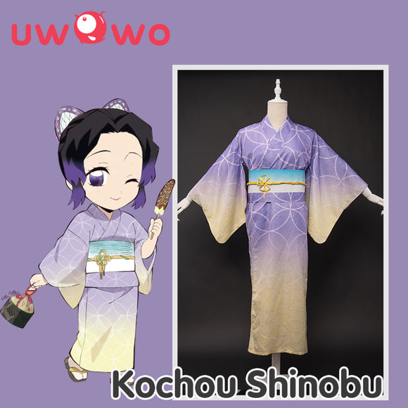 【Pre-sale】Uwowo Demon Slayer: Kimetsu no Yaiba Summer Festival Ver. Kimono Shinobu Kocho Cosplay Costume