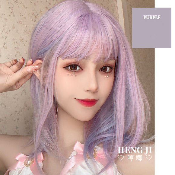 Hengji Lolita Wig Purper Pink and Purple 36cm short curly hair Synthetic Heat Resistant Fiber