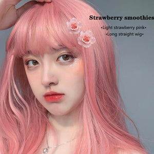 Hengji Wig Strawberry smoothies Pink 55cm Long Straight Lolita Daily Cosplay Wig Synthetic Heat Resistant Fiber