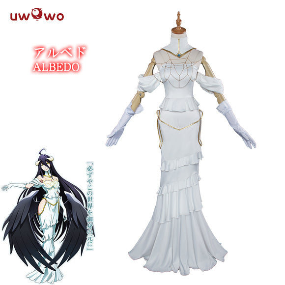 【Pre-sale】UWOWO Anime Overlord Albedo Cosplay White Dress Costume