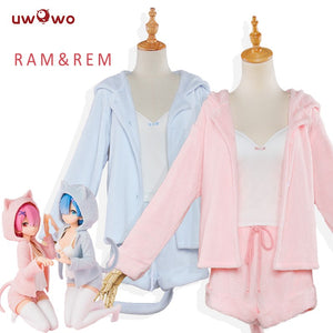 UWOWO Re:Life in a different world from zero Cosplay Rem Ram Cute Cat Ear Pajamas Costume