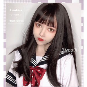 Hengji Wig Cookies Black-brown 47cm Long straight Lolita Daily Cosplay Wig Synthetic Heat Resistant Fiber