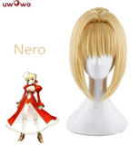 UWOWO Fate Grand Order Nero 35cm long Gold Lace None Cosplay Wig
