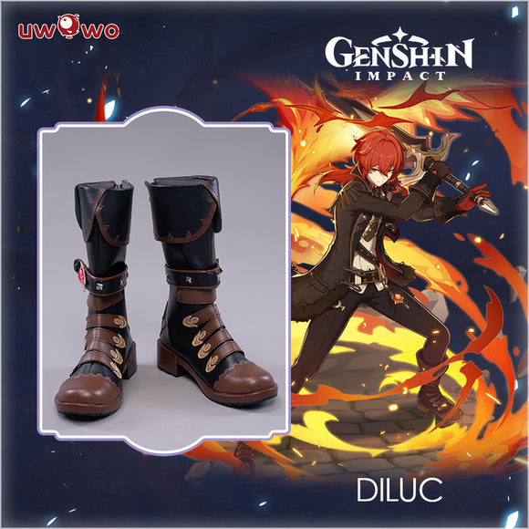 Uwowo Game Genshin Impact Cosplay Diluc The Dark Side of Dawn Darknight Hero Cosplay Shoes