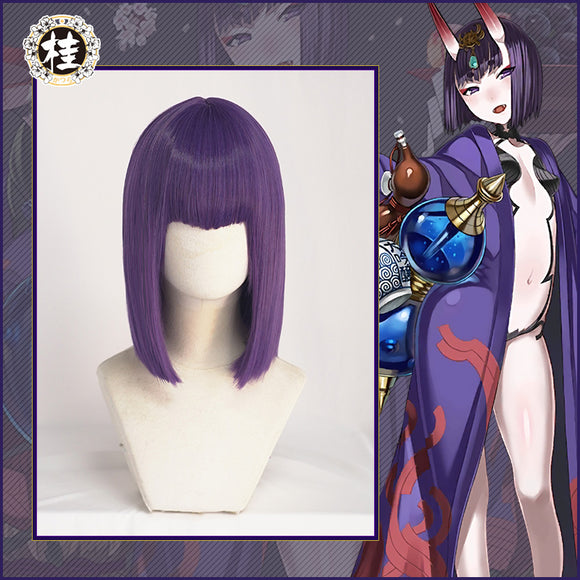 UWOWO Shuten Douji Cosplay Wig 35cm Purple Short Hair Fate Grand Order/FGO Wig