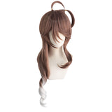 UWOWO Game Arknights Eyjafjalla Cosplay Wig 80cm Brown Silver Gray Gradient Wavy Hair Cosplay Wig