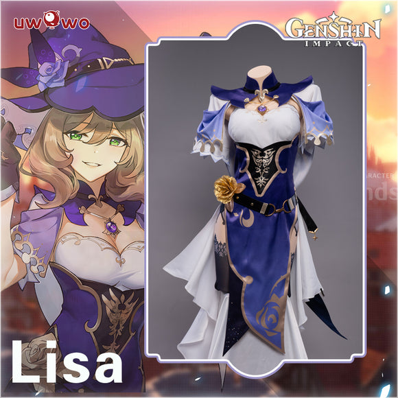 Uwowo Game Genshin Impact Cosplay Lisa Witch of Purple Rose Costume The Librarian Sexy Dress