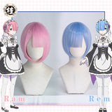 UWOWO Re:Life in a different world from zero  Rem Ram Cosplay wig 30cm pink/blue
