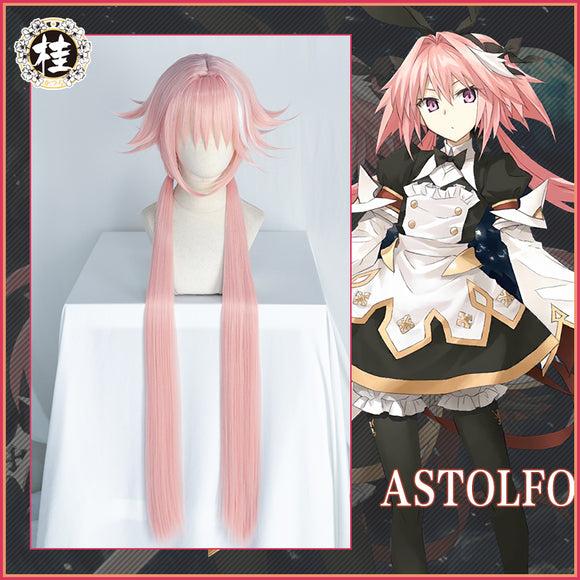 Uwowo Game Fate Grand Order/FGO Astolfo Cosplay Wig 100cm Long Twin Tail Pink Hair