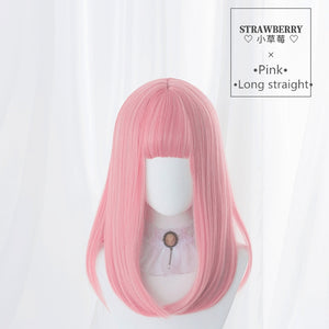 Hengji Wig Strawberry Pink 45cm Long Straight Lolita Daily Cosplay Wig Synthetic Heat Resistant Fiber