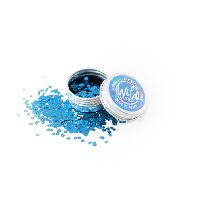 Blue Biodegradable Glitter Size L - Wild Glitter Super Chunky Blue Planet Bioglitter®