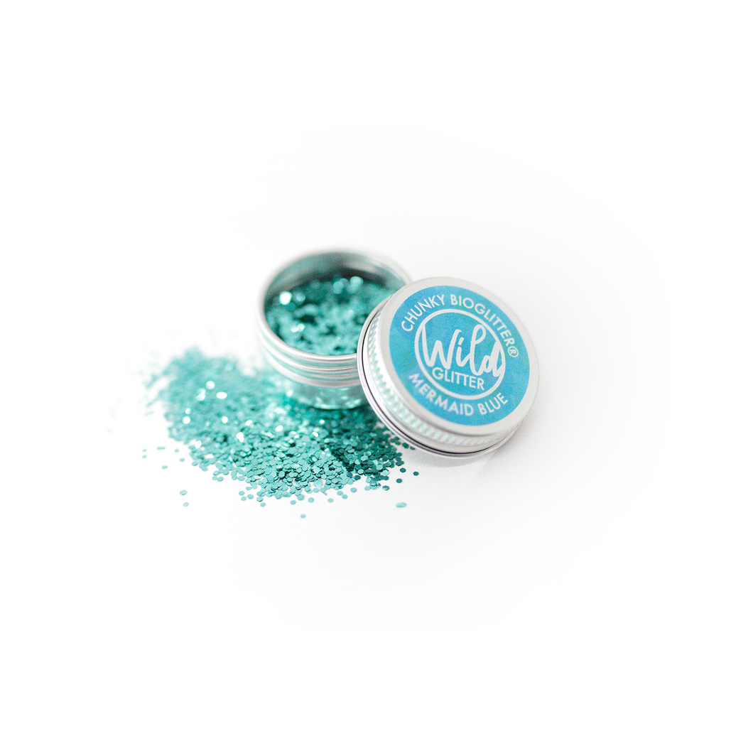 Blue Biodegradable Glitter Size L - Wild Glitter Chunky Mermaid Blue Bioglitter®