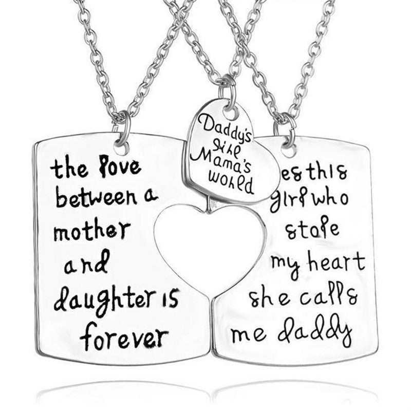 3pc Father Mother Daughter Family Necklace