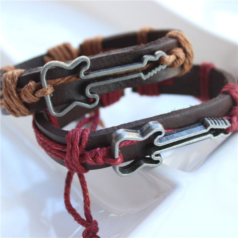 Couples Guitar Leather Bracelet
