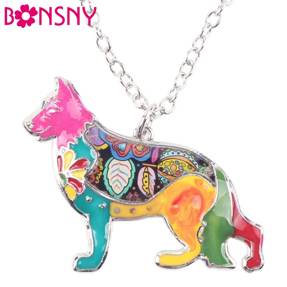 German Shepherd Multi Color Necklace
