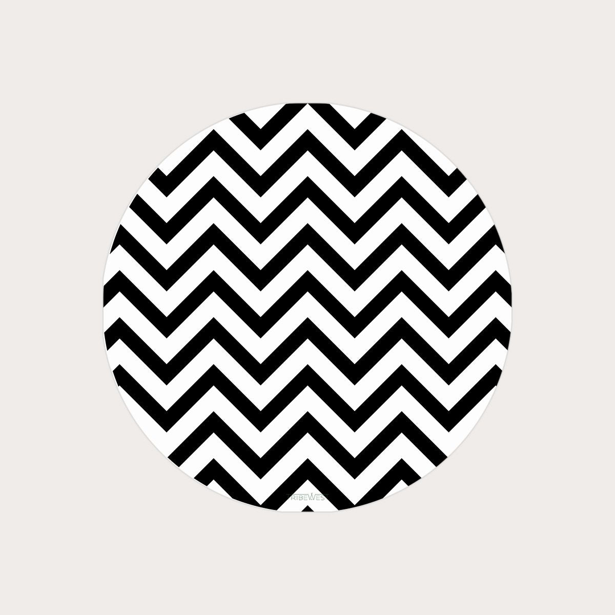 Chevron Black/White Round