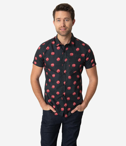 Coca-Cola Collection by Unique Vintage Black Coke Bottle Cap Print Button Up Mens Shirt - Only Sizes Small & Large Left