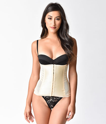 Unique Vintage Beige Stretch Waist Cincher